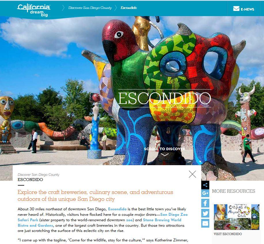 Escondido Featured in Visit California