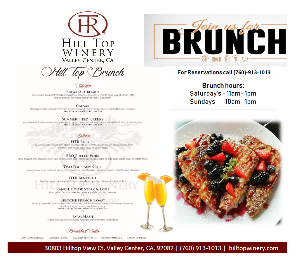 hill top winery brunch valley center escondido