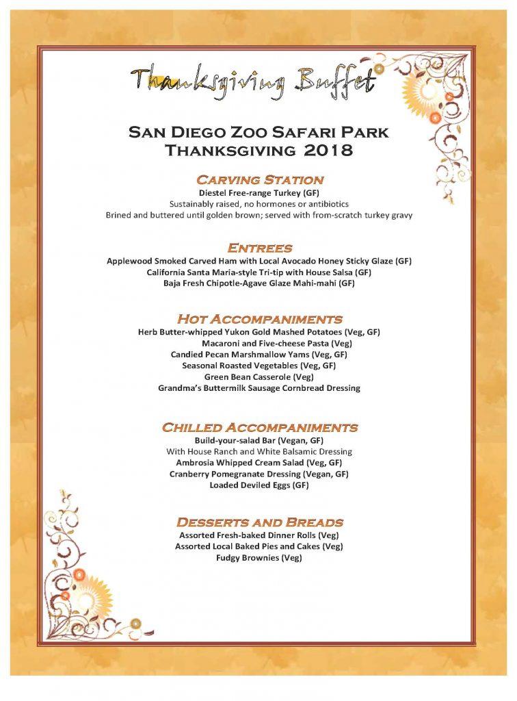 safari park thanksgiving dinner escondido