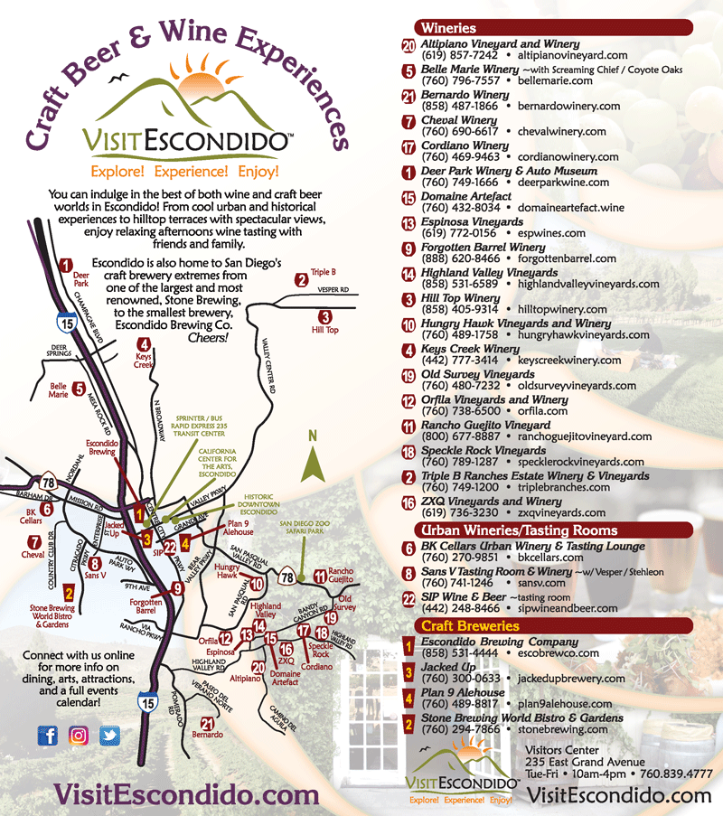 visit escondido wine and craft beer map