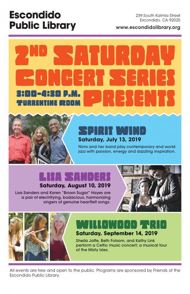 2nd saturday concerts at the escondido library